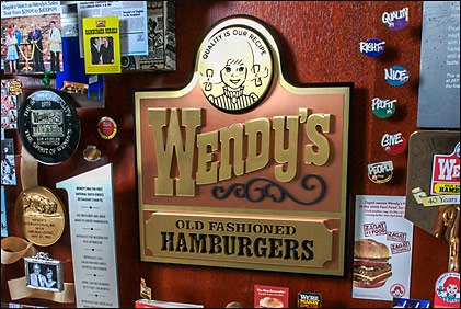 Closeup of Wendy's logo from the commemorative artwork
