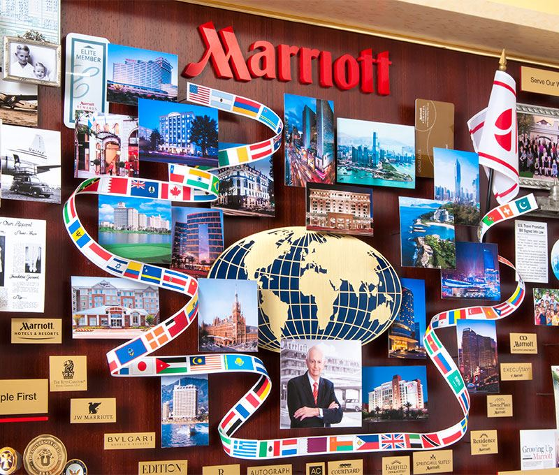 Closeup of collage created for Marriott hotels. Containing many images from their historical archive.
