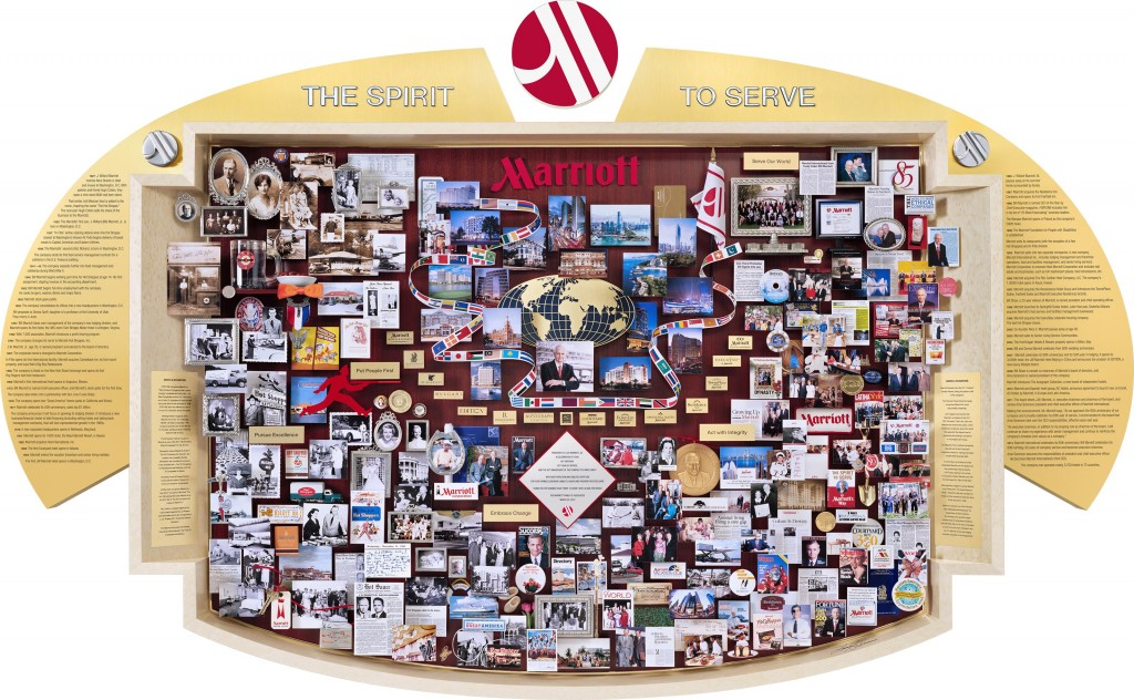 Marriott 85th Anniversary Lobby Art, on display at Marriott World Headquarters in Bethesda, Maryland. Presented in Los Angeles, at Marriott's Global Marketing Meeting.