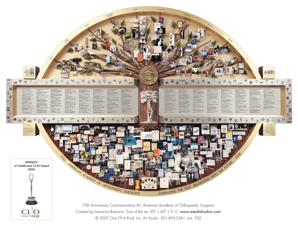 Large collage containing many miniature 3D orthopedic items. Art won CLIO Healthcare Award.