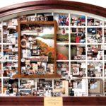 Andersen Windows 100th Anniversary Collage commemorating history, family leaders, products, growth accomplishments. Lobby art in Andersen Bayport, MN headquarters.