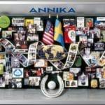 LPGA Retirement Gift presented to Annika Sorenstam. Contains horseshoe, golf ball, golf club, cell phone, sun glasses.