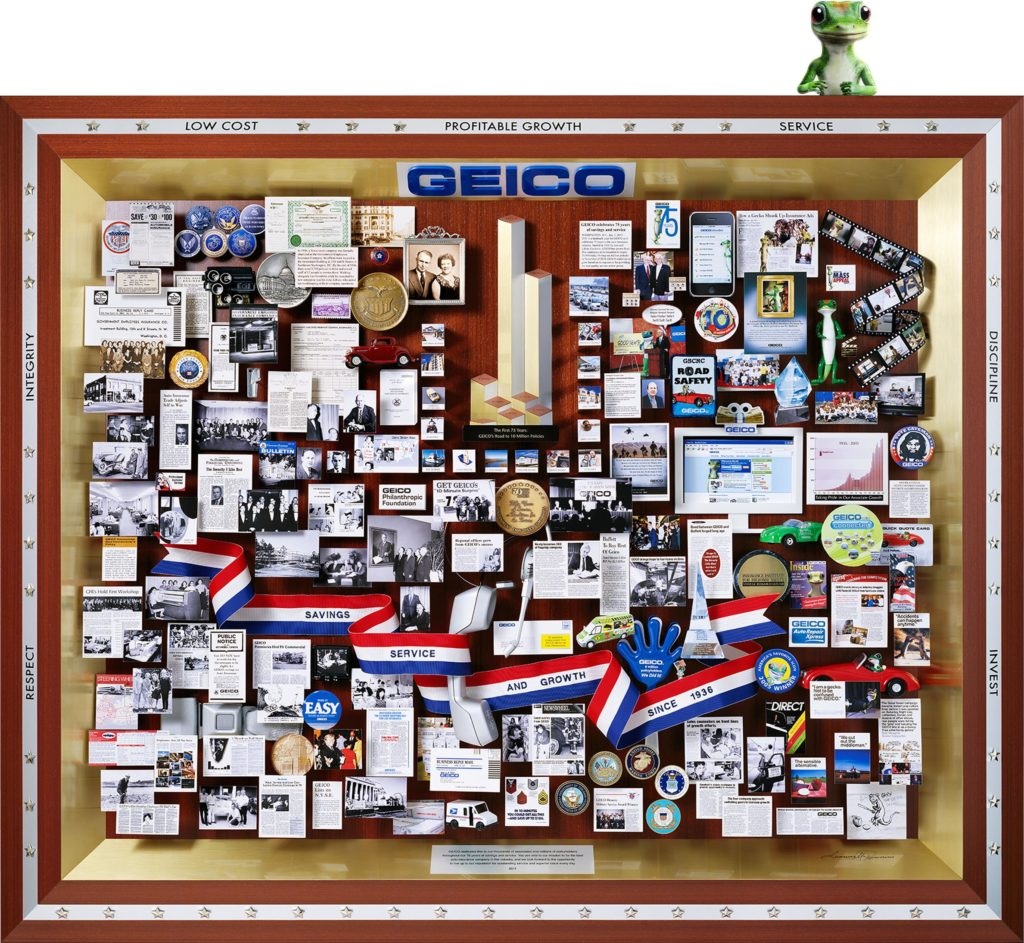 GEICO, a Berkshire Hathaway Company, 75th Anniversary Lobby Art unveiled by Warren Buffett and Tony Nicely. Featuring the Gecko and images from GEICO's archives, headquartered in Chevy Chase, MD.