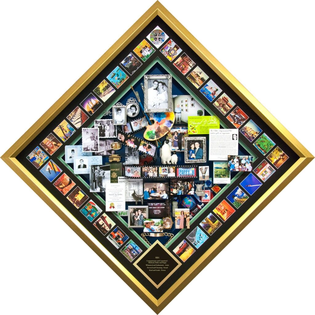 This One Of A Kind 3-dimensional collage was created for a loving daughter Mindi to commemorate her father's story—as an artist, photographer, husband, father, grandfather.