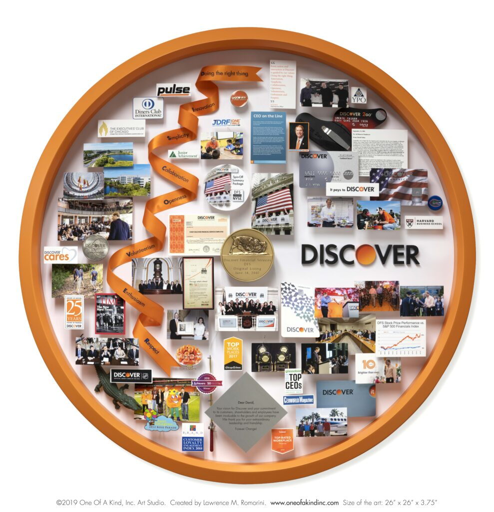 Large collage personalized with over 50 items for the CEO of Discover. Containing items and images that celebrate the company's history and honor the CEO's leadership and accomplishments.