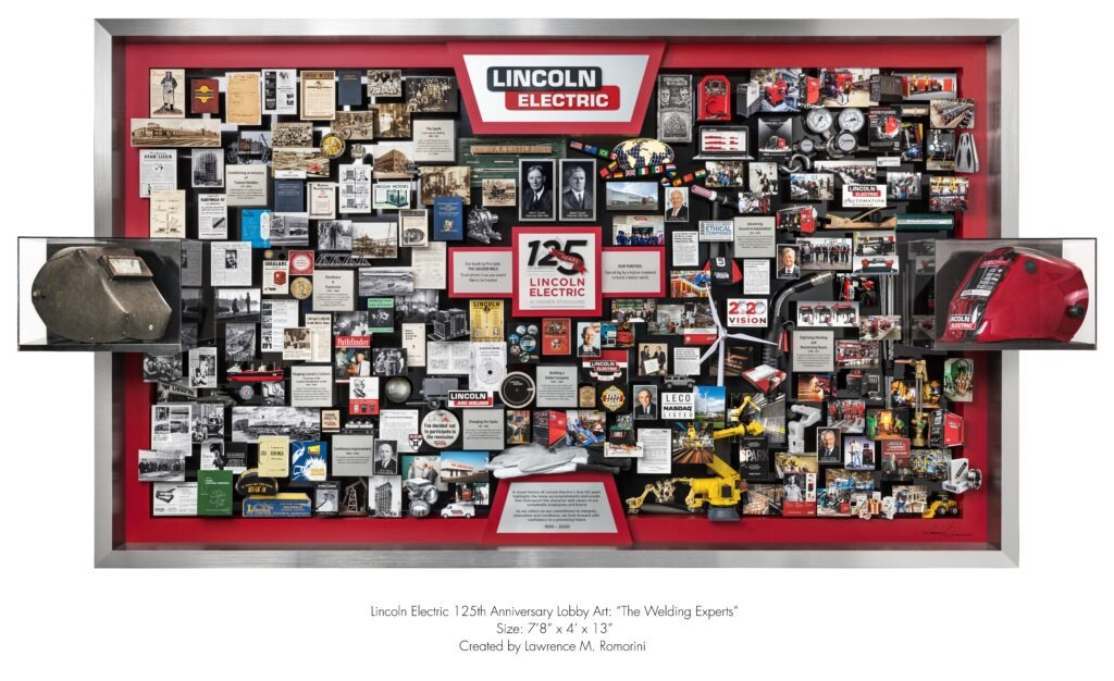 Lincoln Electric 125th anniversary lobby art. Welding helmets, old and new, are featured. Founders photos are framed. Art includes miniatures of equipment, a windmill, welding components, tools of the industry.