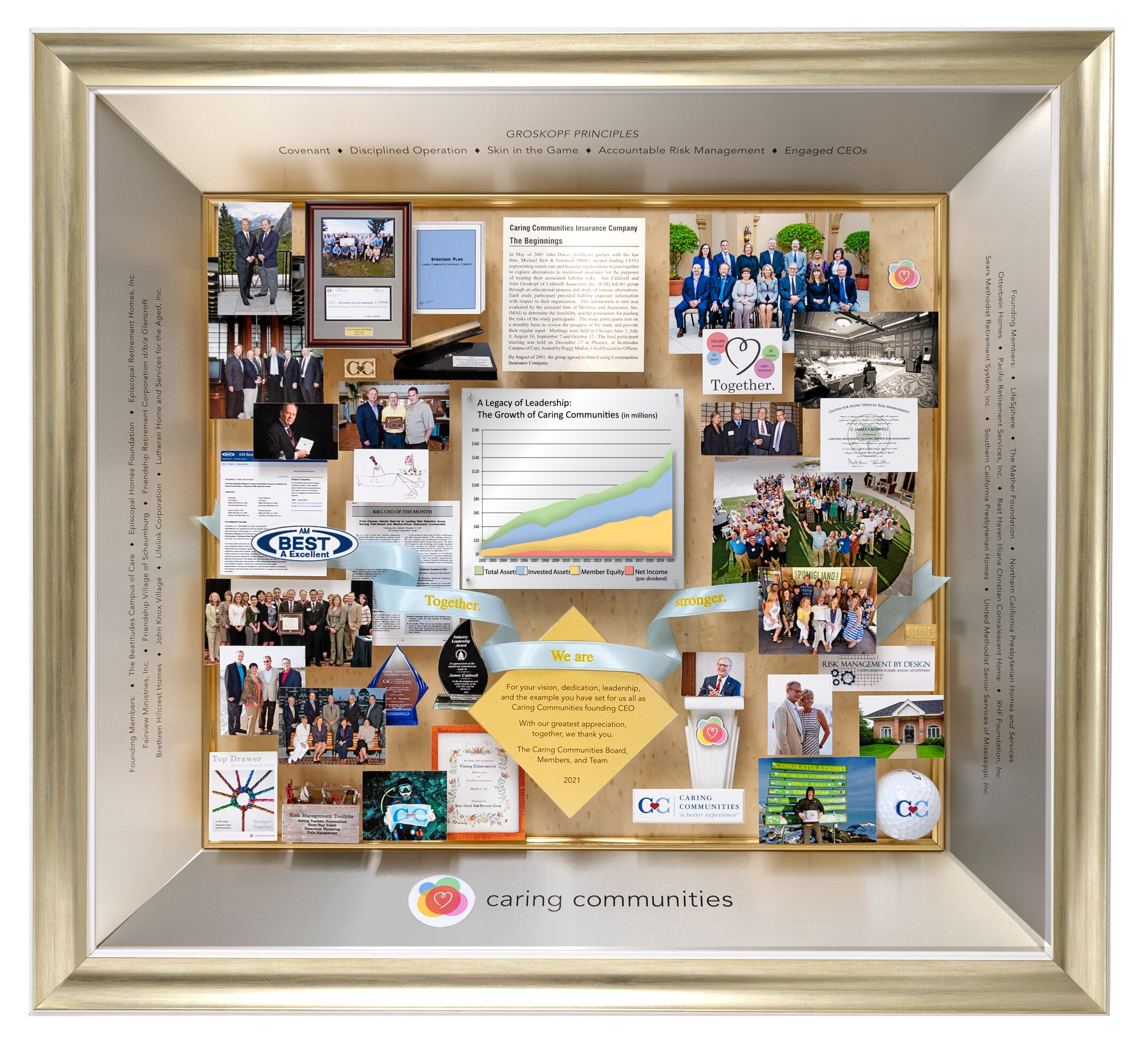 Large 3-dimensional collage personalized and custom-made for the founding CEO of a retirement company. 3D graph on plexiglass shows growth over 20 years.